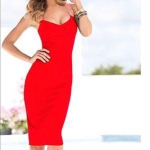 Venus Contrast Red Pink Ribbon Strap Dress Sz. 2